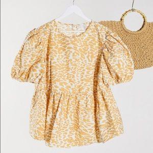 ASOS DESIGN Puff Sleeve Mock Leopard Cotton Tee